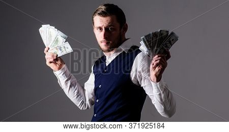 Profit And Richness Concept. Man In Waistcoat, Businessman, Entrepreneur