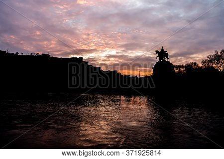 Colorful Sunrise Burning Sky Koblenz City Historic Monument German Corner Where River Rhine And Mose