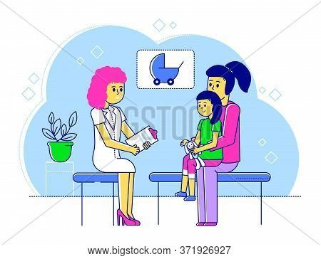 Line Doctor Pediatrician Vector Illustration. Cartoon Flat Happy Mother And Kid Boy Characters Visit