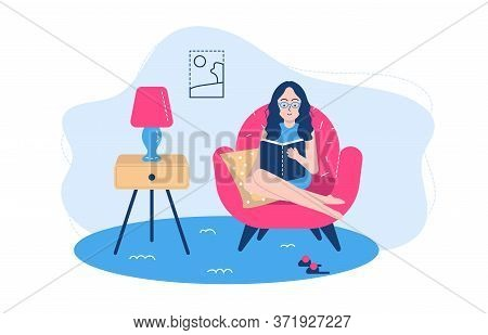 People Reading Poses Vector Illustration. Cartoon Flat Woman Student Character Sitting By Window, St
