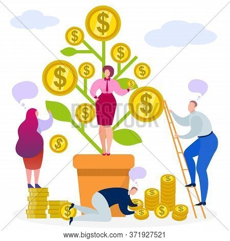 Business Money Tree, Vector Illustration. Finance Coin Profit Before Investment Concept, Plant With