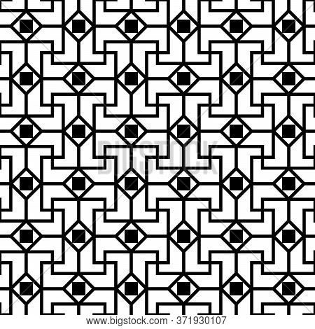 Gallo-roman Ornament. Black Seamless Pattern On White Background.