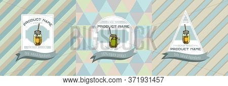 Three Colored Labels With Illustration Of Smothie Jars Stock Illustration