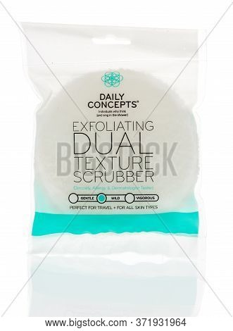 Winneconne,  Wi - 12 June 2020: A Package Daily Concepts Exfoliating Dual Texture Scrubber On An Iso