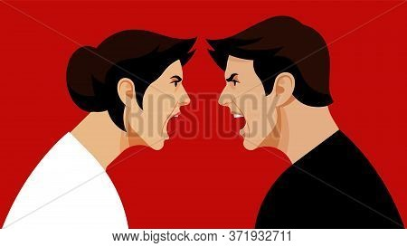 Conflict. Quarrel. Swearing. The Dispute Between A Man And A Woman. An Angry Woman Screams At The Fu