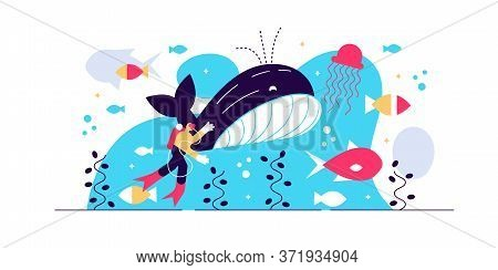 Marine Life Vector Illustration. Flat Tiny Sea Or Ocean Fishes And Animals Visualization. Underwater