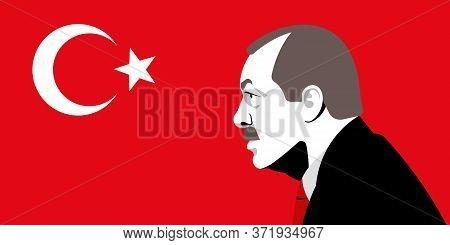 Recep Tayyip Erdogan. Turkish President And Flag.  Portrait.  Vector Editorial Illustration.