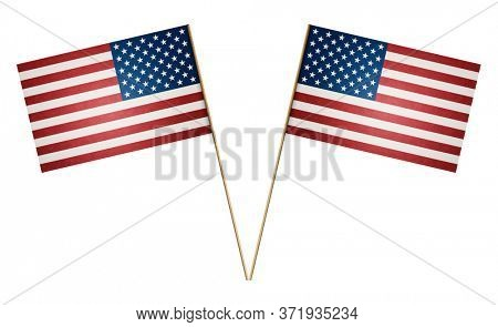 Two paper American flag on wooden stick isolated on white background, including clipping path