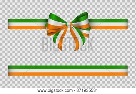 Bow And Ribbon With Irish Flag Colors. Irish Bow And Ribbon