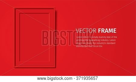 Red Wooden Frame With Passepartout, Hanging On The Red Wall Background. Realistic Blank Frame Mockup