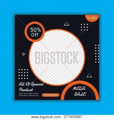 Mega Sale Social Media Post Template Layout Design.online Special Offer Digital Poster.discount Offe