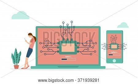 Firmware System Update Computer And Smartphone Concept In Flat Vector Design. Woman Use Smartphone S