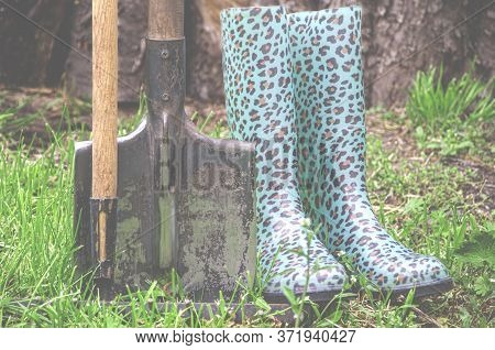 Garden Tools And Gardening Shoes Stand In The Garden