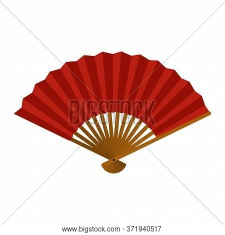 Hand Fan Isolated On White Background, Chinese Folding Fan, Traditional Asian Paper Geisha Fan Icon.