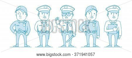 Set Of Police Characters. Policeman With A Club Restricting Movement Or Detention. Patrol Officer Wi