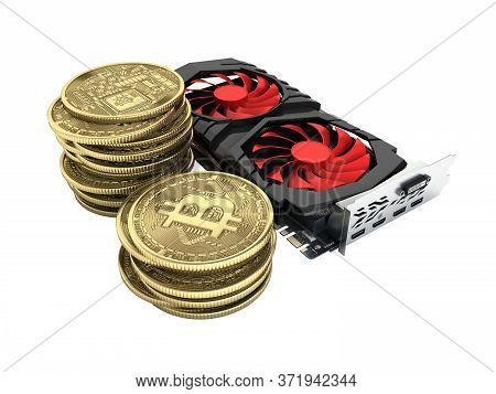 Bitcoin Mining Powerful Video Cards To Mine And Earn Cryptocurrencies Concept Isolated On White Back