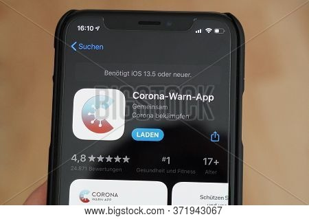 Hannover, Germany - June 17, 2020: The Official German Corona-warn-app On Iphone X. The Corona Covid