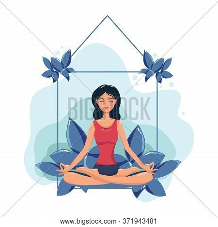 A Woman Meditates. Illustration Of A Concept For Yoga, Meditation, Relaxation, Recreation, And A Hea