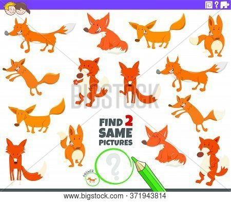 Cartoon Illustration Of Finding Two Same Pictures Educational Task For Children With Funny Foxes Wil