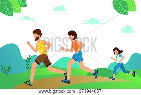 Happy Family With Children Running Or Jogging For Sport.