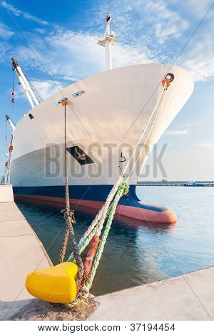 Docked Dry Cargo Ship With Bulbous Bow