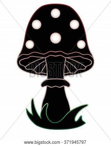 Amanita Mushroom In The Grass - Vector Black Silhouette With A Colored Outline For A Logo Or Pictogr