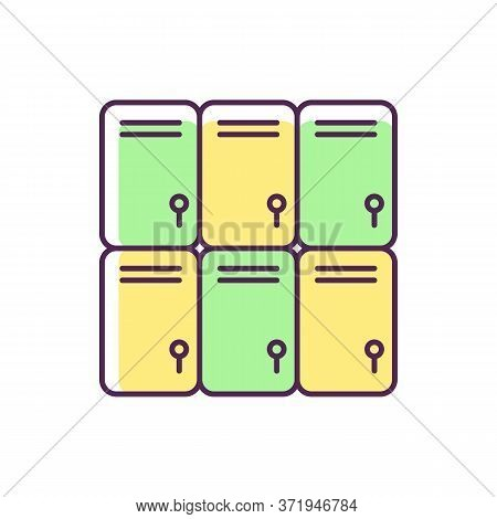 Shopping Mall Lockers Rgb Color Icon. Shop Storage For Personal Belongings. Closed Steel Boxes. Gym