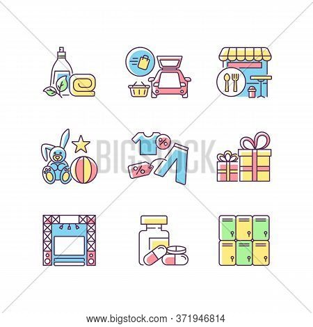 Shopping Mall Products Rgb Color Icons Set. Outlet Store. Gift Shop. Entertainment Center. Curbside