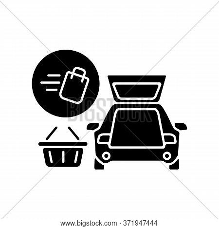 Curbside Pickup Black Glyph Icon. Food Delivery. Delivering Groceries By Automobile. Online Supermar