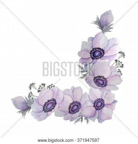 Watercolor Illustration Composition Bouquet Of Purple Violet Lavender Anemone Buttercup Flowers Leav