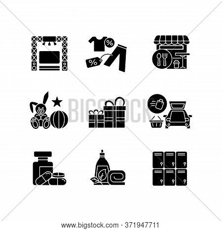 Shopping Mall Products Black Glyph Icons Set On White Space. Outlet Store. Gift Shop. Entertainment