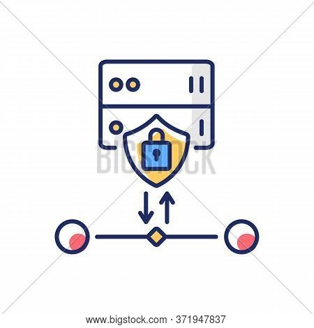 Ssl Encryption Rgb Color Icon. Website Safety, Cybersecurity. Reverse Proxy For User And Host Protec