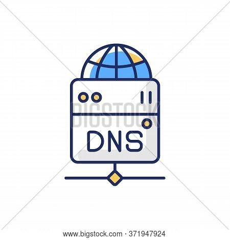 Dns Server Rgb Color Icon. Local Domain Name System, Transfering User Requests. Technology For Acces