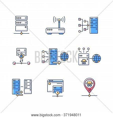 Virtual Proxy Servers Rgb Color Icons Set. Vpn Services, Internet Routing Technologies. Internet Con