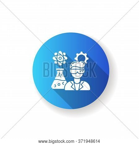 Chemical Engineer Blue Flat Design Long Shadow Glyph Icon. Biochemical Specialist. Professional For