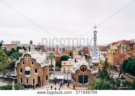 Barcelona, Spain - 15 December 2019: The Central Entrance To The Park Guell In Barcelona. Gingerbrea