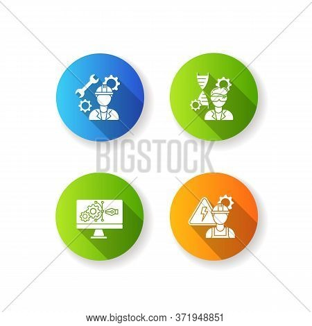 Engineering Career Type Flat Design Long Shadow Glyph Icons Set. Agricultural Production Specialist.
