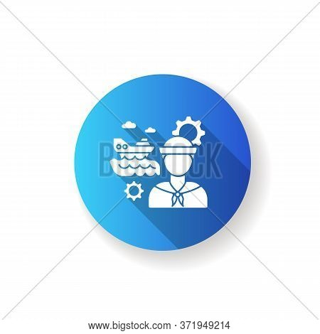 Marine Engineer Blue Flat Design Long Shadow Glyph Icon. Nautical Production. Professional Sailor Fo