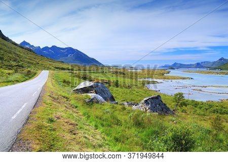 Lofoten Archipelago Landscape In Norway. Gimsoystraumen Bridge Between Islands Of Austvagoya And Gim
