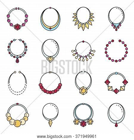 Necklace Jewelry Icon Set. Outline Set Of Necklace Jewelry Vector Icons Thin Line Color Flat Isolate