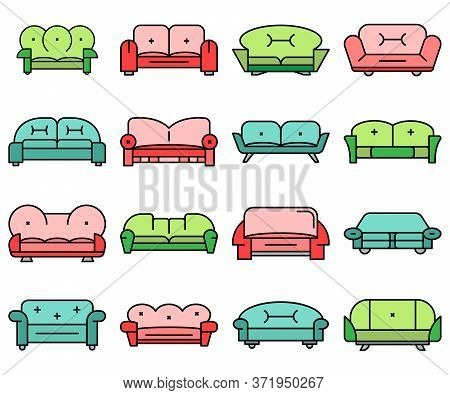 Sofa Icon Set. Outline Set Of Sofa Vector Icons Thin Line Color Flat Isolated On White