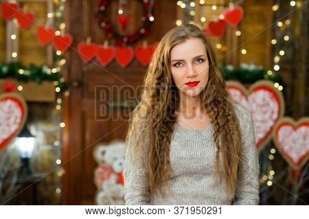 Beautiful Girl In Love Celebrate Valentines Day. Girl Smiling And Waiting For Her Boy