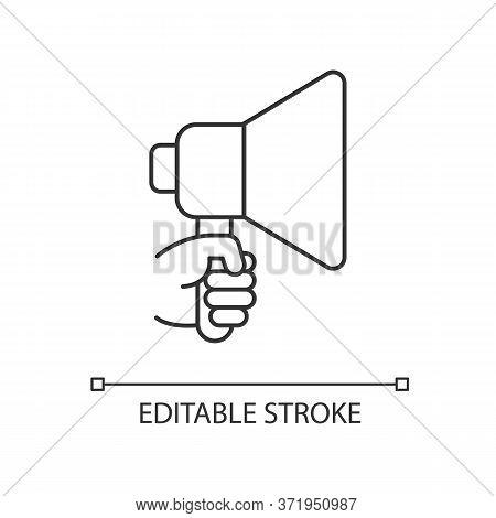 Hand With Megaphone Pixel Perfect Linear Icon. Bullhorn For Announcement. Public Propaganda. Thin Li