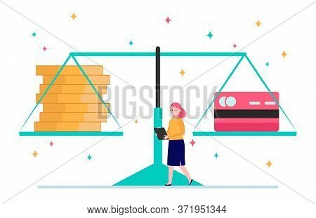 Scale With Cash And Credit Card. Person, Woman, Comparison, Weight Flat Vector Illustration. Persona