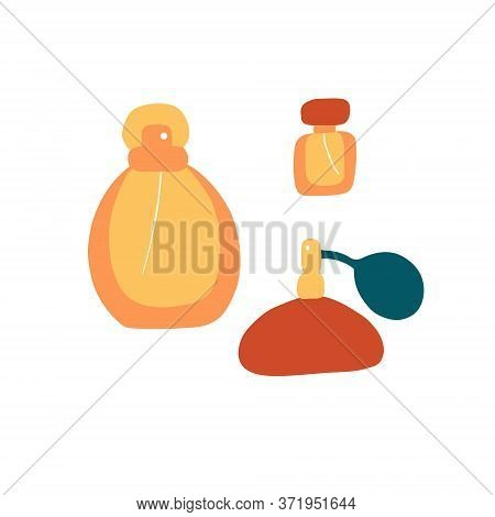 Perfume Icons Set. Different Shapes Of Bottles. Fragrance Signs. Doodle Flat Vector Graphic.