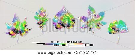 Leaves Set Big Collection. Botanical Multicolored Holographic Gradient Vibrant Trendy Illustration.