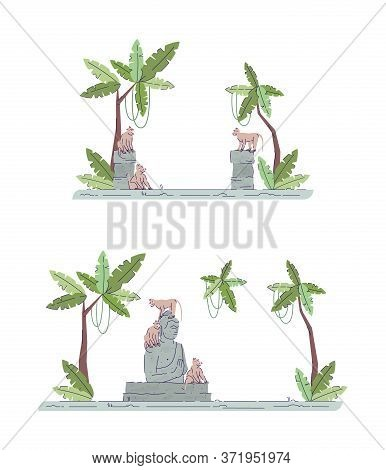 Indonesian Temple Ruins Semi Flat Rgb Color Vector Illustration Set. Palmtrees And Shrine Remnants.
