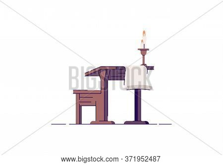 Wooden Scribe Furniture Semi Flat Rgb Color Vector Illustration. Parchment And Candle. Wood Rustic D