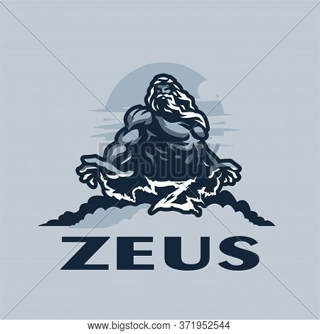 Zeus God On A Mountain Among The Clouds, Against The Sky. Muscular Man With A Beard And Long Hair. L