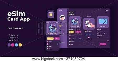 Esim Card App Screen Vector Adaptive Design Template. Telecommunication Application Night Mode Inter